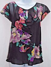 Ralph Lauren 100% Silk Chiffon Ruffle Blouse Top Floral Flutter Sleeve Black L