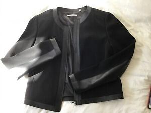 Tahari-Black-Zip-Up-Blazer-Jacket-w-Leather-Trim-Size-M-EUC