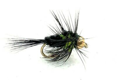 Goldhead MONTANA Trout Flies 3 Pack Green Stonefly Nymph Fly Fishing Size 10,12