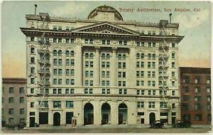 Trinity Auditorium Los Angeles California CA Street View 1900's 1910's Postcard