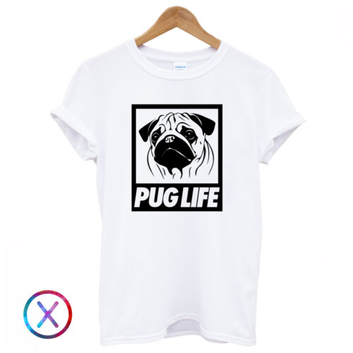 PUG LIFE T SHIRT TEE TOP FUNNY GRAPHIC PRINT DOG LOVE THUGLIFE SWAG DOPE BLACK
