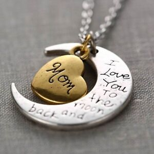 Gold-Silver-Family-I-LOVE-YOU-TO-THE-MOON-AND-BACK-Necklace-Charm-Pendant-Gift