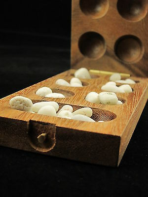 "Mini Kalaha 6.5""x 3"" wooden strategy board game with stones"