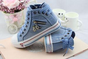 Women-Flat-Platform-High-Upper-Skull-Zipper-Lace-Up-Jeans-Fabric-Canvas-Sneakers