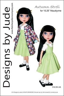 """Fun Frills Doll Clothes Sewing Pattern for 15.25/"""" Maudlynne /& LittleMissMatched"""
