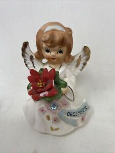 Vtg-LEFTON-December-Christmas-Angel-w-Poinsettia-amp-Birthstone-6224-Japan-1950s