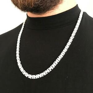 King-Flat-Byzantine-Men-Chain-Necklaces-9mm-925-Sterling-Silver-75GR-26Inch
