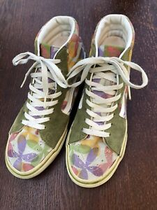 9020ef2a51 Details about VANS Old Skool Women s Size 8 Green Purple Suede Hi Tops  Sneakers Padded Floral