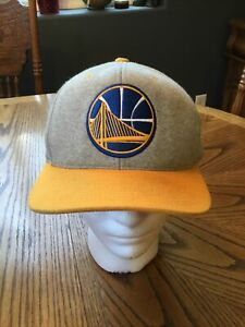 Mitchell & Ness GOLDEN STATE WARRIORS Gray heather Yellow NBA Snapback HAT Cap