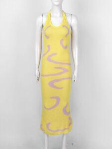 Knitted Bodycon Dress Women Y2K HalterNeck Sleeveless Backless Beach Party Dress