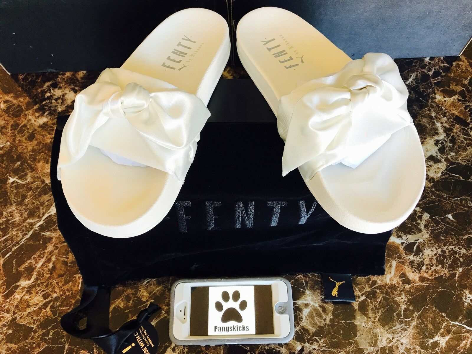Puma Fenty by Rihanna Bow Slide Marshmallow Silver White 365774-02 Women's Sizes