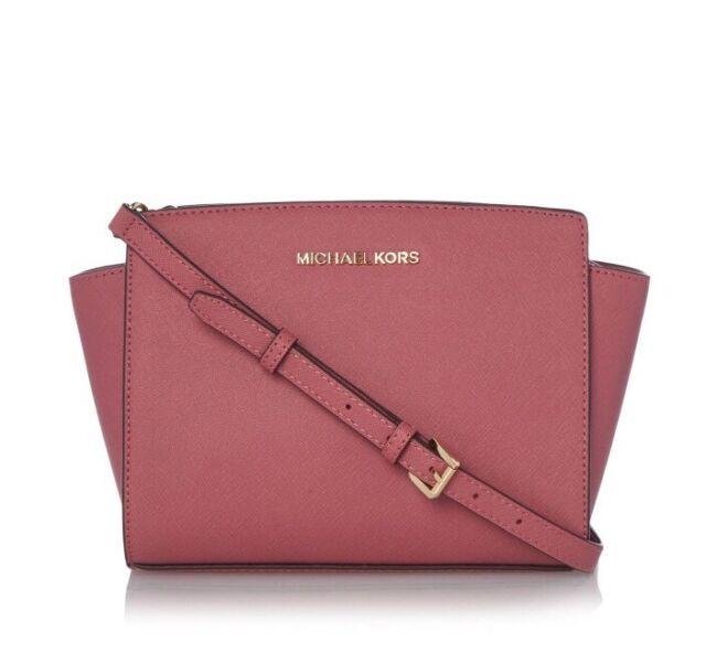 47488eb3be6c2 NWT Michael Kors Selma Medium Saffiano Leather Messenger Crossbody Bag Pink