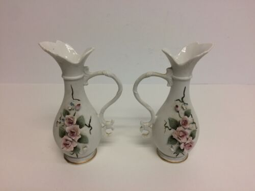 2 Vintage Lefton Vases Roses Japan
