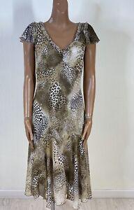 PER UNA Beige Animal Print Midi Dress Floaty Flared Size 12