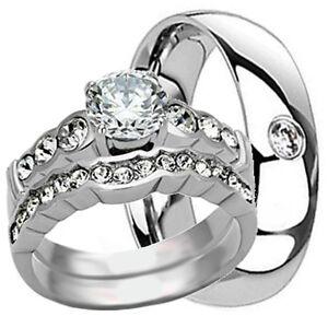 3-pcs-His-amp-Hers-TITANIUM-amp-Stainless-Steel-Wedding-Bridal-Matching-Rings-Set-CZ