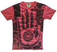 Men T Shirt Buddha Palm Hindu India Hobo Boho Hippie Eye mistery Sz M RARE Sure