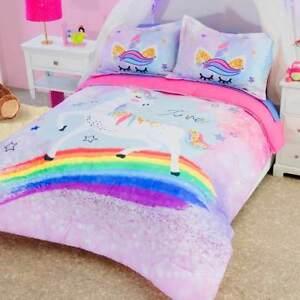 Girls Pink Rainbow Unicorn Reversible Comforter Set In