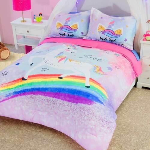 Girls Pink Rainbow Unicorn Reversible Comforter Set in Great Quality Photo