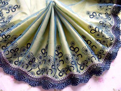 "2Yard~8.5""~ Embroidered Lace Trim Flower Scalloped Bridal Dress Dark-cyan~White"