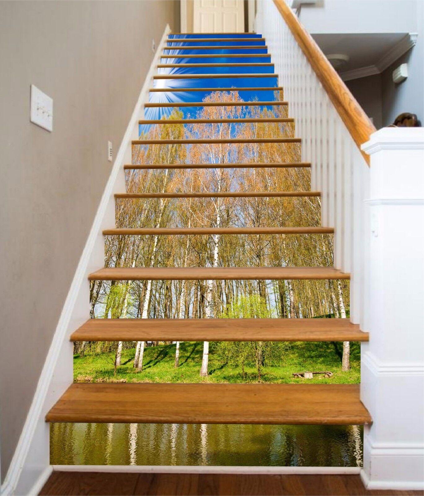 3D Slender Trees 01 Stair Risers Decoration Photo Mural Vinyl Decal Wallpaper AU