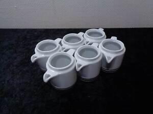 6 x DDR Design Kaffeekännchen Colditz Porzellan Rationell Vintage OHNE Deckel!!