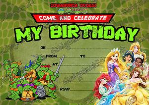 Image Is Loading Teenage Mutant Ninja Turtles Amp Disney Princess Birthday