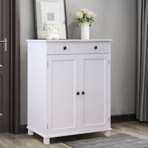 Wooden-2-Doors-2-Drawers-Sideboard-Shabby-Chic-Cupboard-Cabinet-Unit-White-Matt