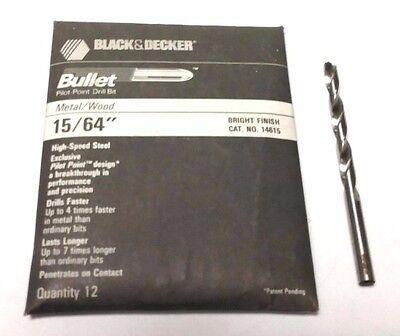 "15//64/"" BLACK /& DECKER BULLET DRILL BITS 6 PCS HS BRIGHT FINISH PILOT POINT"
