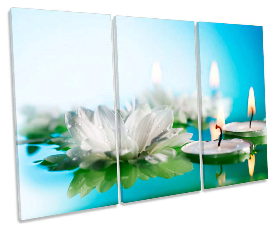 Water Lily Candle Floral Picture TREBLE CANVAS WALL ART Print