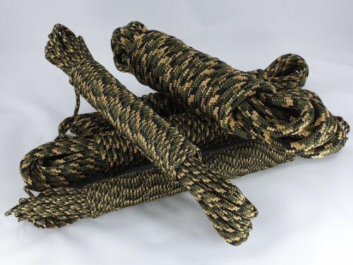 Moro Grün 5mm 0,20€-0,54€//m Fallschirmleine Camouflage Seil Tarnseil Paracord