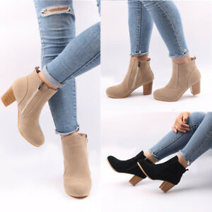 59bd476d534 Womens Suede Shoes Heels Block Boots Warm Solid Color Ladies Ankle ...
