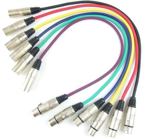 1 Set Mikrofonkabel 0,5 m XLR 3 pol in 6 Farben DMX Mikrofon Kabel Adam Hall
