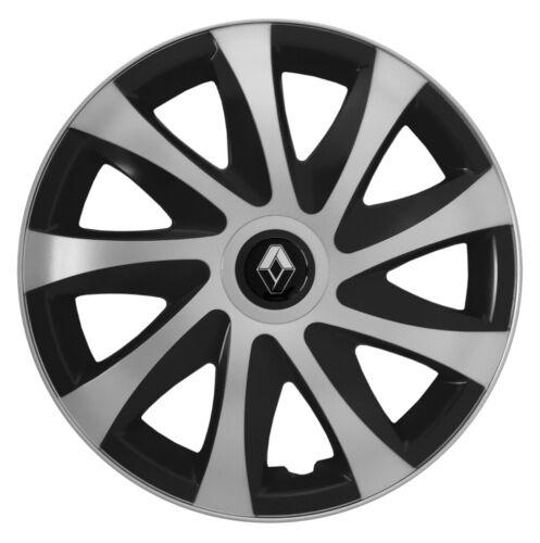 """16/"""" be Adornos Tapacubos Ajuste Renault Master 2010-on 4x16 pulgadas plata-negro"""