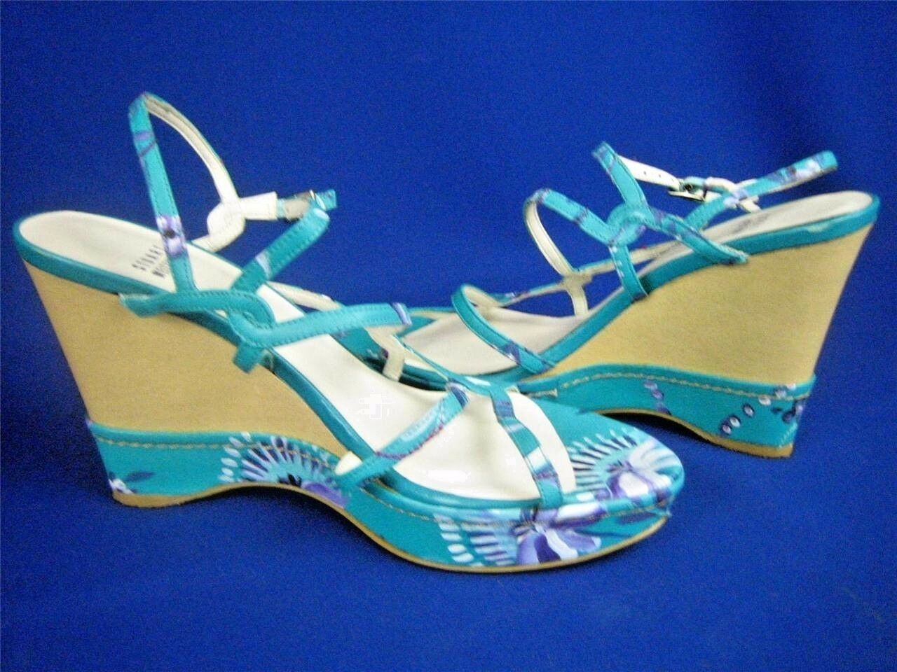 STUART WEITZMAN Aqua Leather Floral Print NEW Strappy Wedges Sandals 6.5M