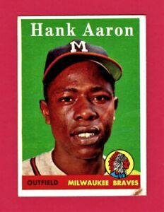 Hank-Aaron-1958-Topps-Baseball-Card-30-Braves-Great-Set-Filler-No-Creases
