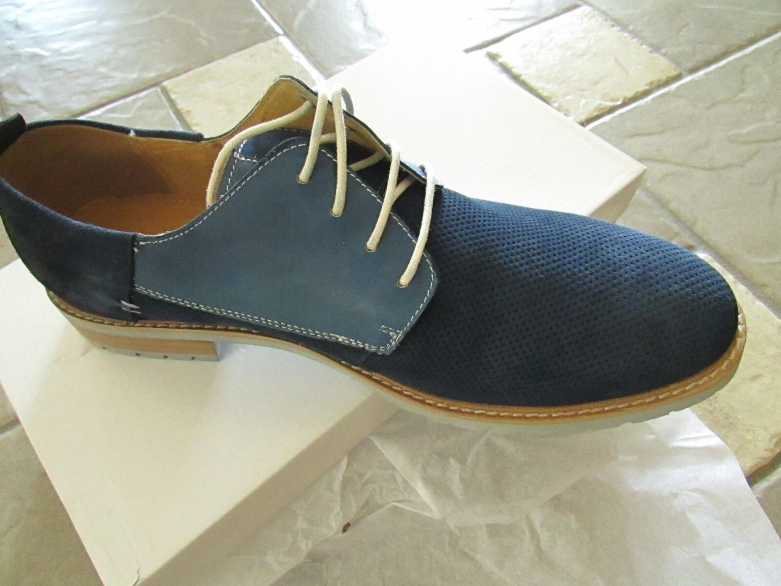 NEW STEVE MADDEN ROQUE BLUE SUEDE SHOES Uomo 9.5 LACE UPS OXFORDS FREE SHIP