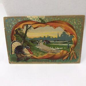 Vintage-Postcard-Thanksgiving-Day-1910-Pumpkin-Turkey-Antique-Card