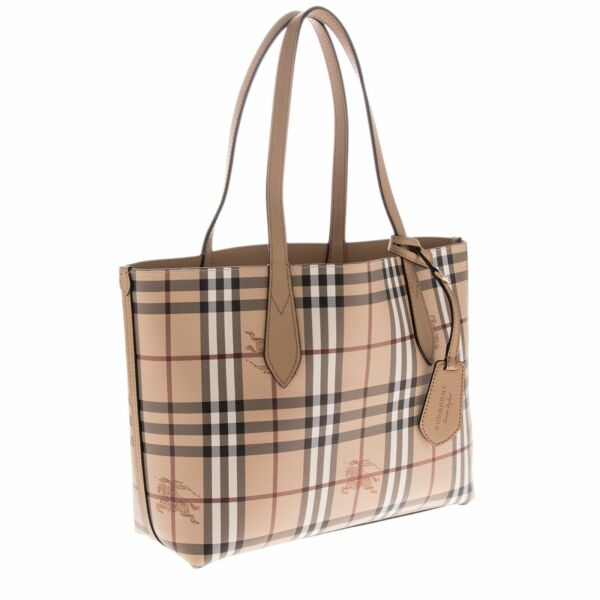 a09593dd6523 Burberry Haymarket Check Camel Brown Small Reversible Handbag Tote 4049585  for sale online