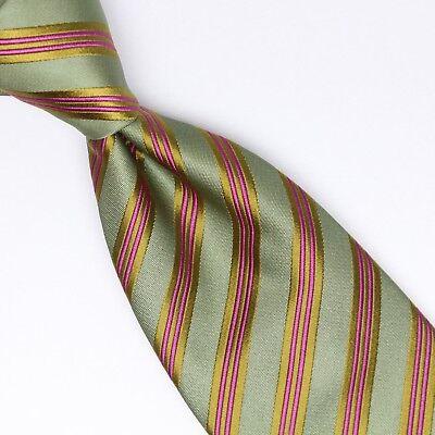 Josiah France Mens Silk Necktie Green Pink Stripe Weave Woven Tie Made in Italy