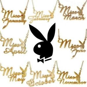 Playboy-Necklace-Pendant-w-Chain-Swarovski-Crystal-Gold-Plated-Bunny-MISS-MONTH