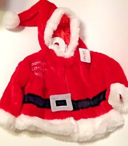 Infant-Santa-Claus-Jacket-Baby-Gund-3-12-Month-Red-Plush-Christmas-Outfit