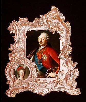 French king Louis XVI and his wife Marie Antoinette.Baroque frame.Wall Decor.
