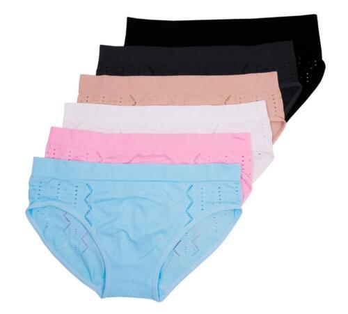6-pk Women/'s Seamless Basic Low-Rise Sport Panties #042 M L XL 6 7 8