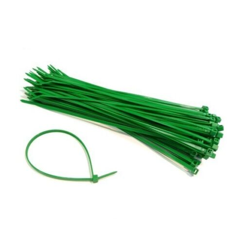 Set 100 Fascette Stringenti in Plastica Nylon Verde Cavi Giardino 1,8x100mm dfh