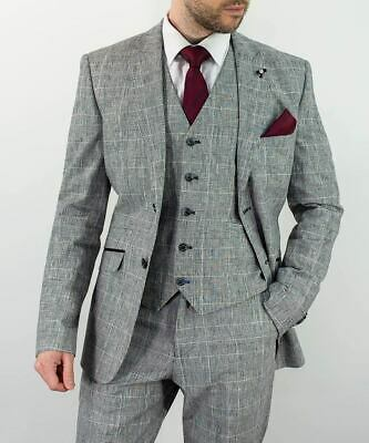 Mens Cavani Grey 3 Piece Suit Wedding Formal Blazer Waistcoat Trousers