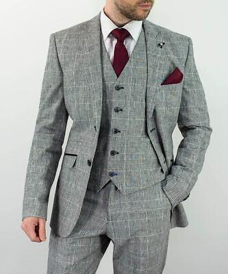Disinteressato Grigio Da Uomo Qualità. Cotone Lino Tailored Fit Matrimonio 3 Pezzi Suit By Trasmissione-mostra Il Titolo Originale Prezzo Basso