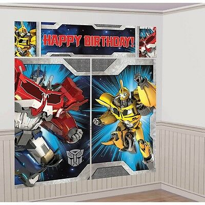 Transformers Scene Setters Plastic Birthday Party Wall Decorating Kit NEW