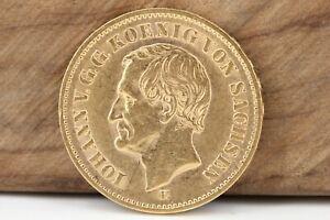20-Goldmark-1873-E-Dresden-Johann-Sachsen-Goldmuenze-900-Deutsches-Reich-GM04