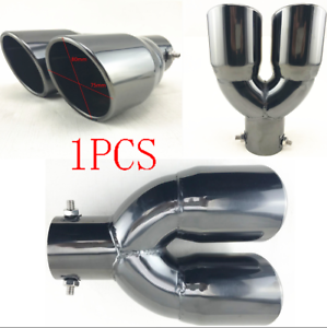 """Titan Black Stainless Steel Car Dual Exhaust Pipe 2.5/"""" Inlet Angled Muffler Tip"""
