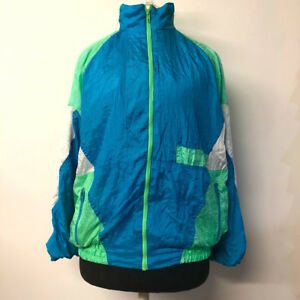 VTG-90s-Color-Block-Windbreaker-Jacket-Blue-Green-Zipper-Front-Adult-Size-Medium